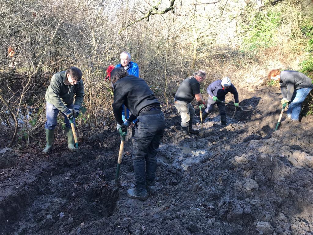 Volunteers digging for new pond