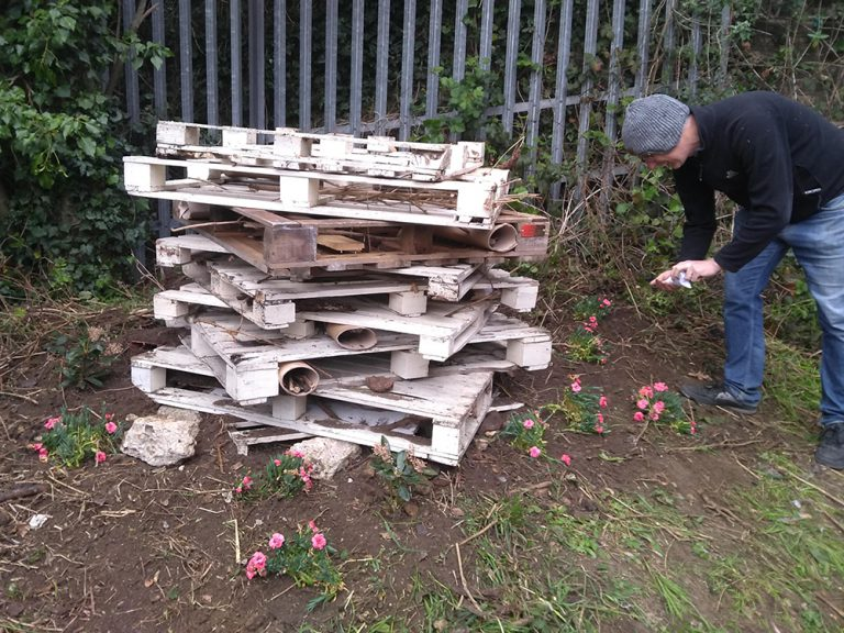 Pile of pallets being assembled to create a Bug Hotel