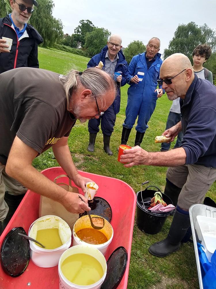Volunteers serving up soup
