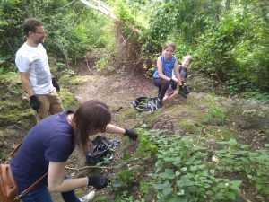 Family of volunteers removing variagated yellow archangel